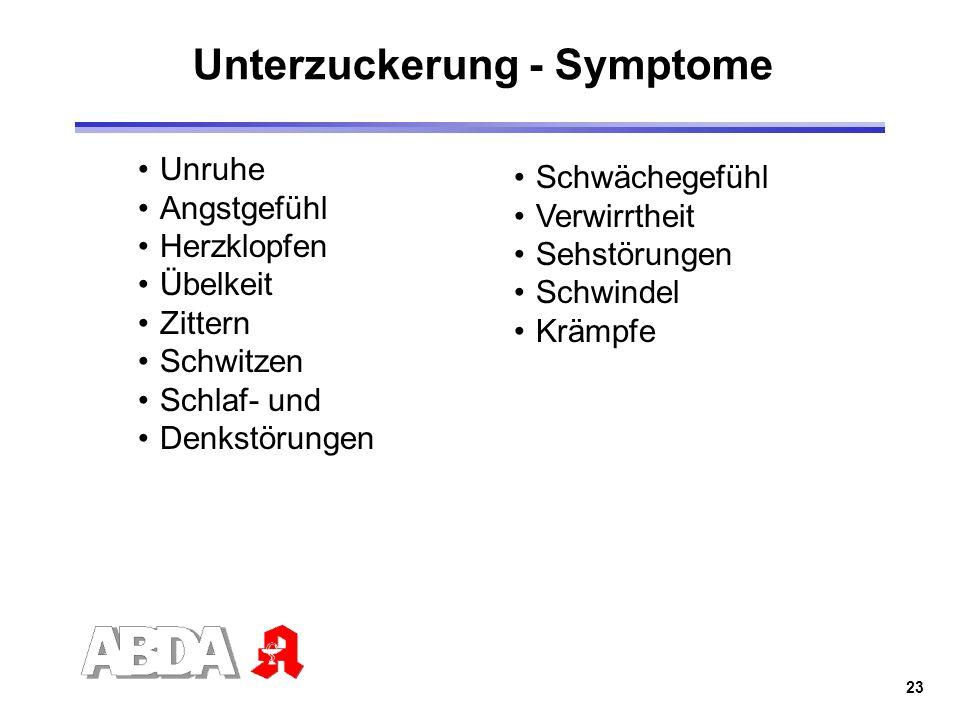 Unterzuckerung - Symptome