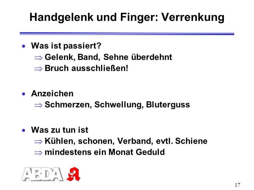 Handgelenk und Finger: Verrenkung