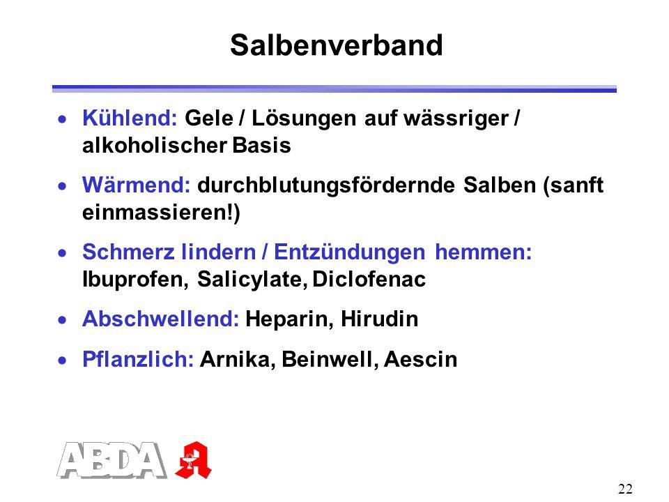 SalbenverbandKühlend: Gele / Lösungen auf wässriger / alkoholischer Basis. Wärmend: durchblutungsfördernde Salben (sanft einmassieren!)