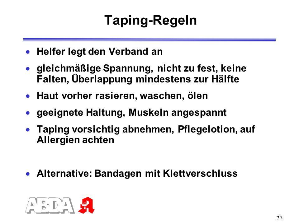 Taping-Regeln Helfer legt den Verband an