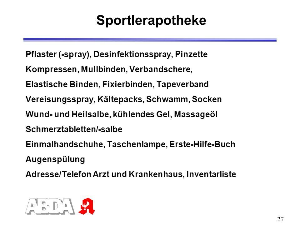 Sportlerapotheke Pflaster (-spray), Desinfektionsspray, Pinzette
