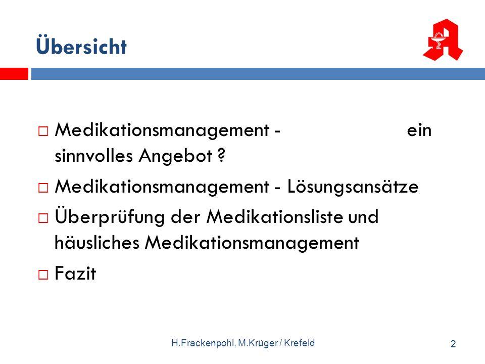 Übersicht Medikationsmanagement - ein sinnvolles Angebot