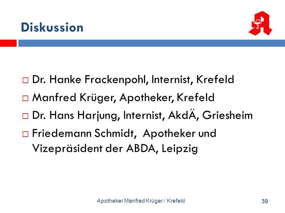 Diskussion Dr. Hanke Frackenpohl, Internist, Krefeld