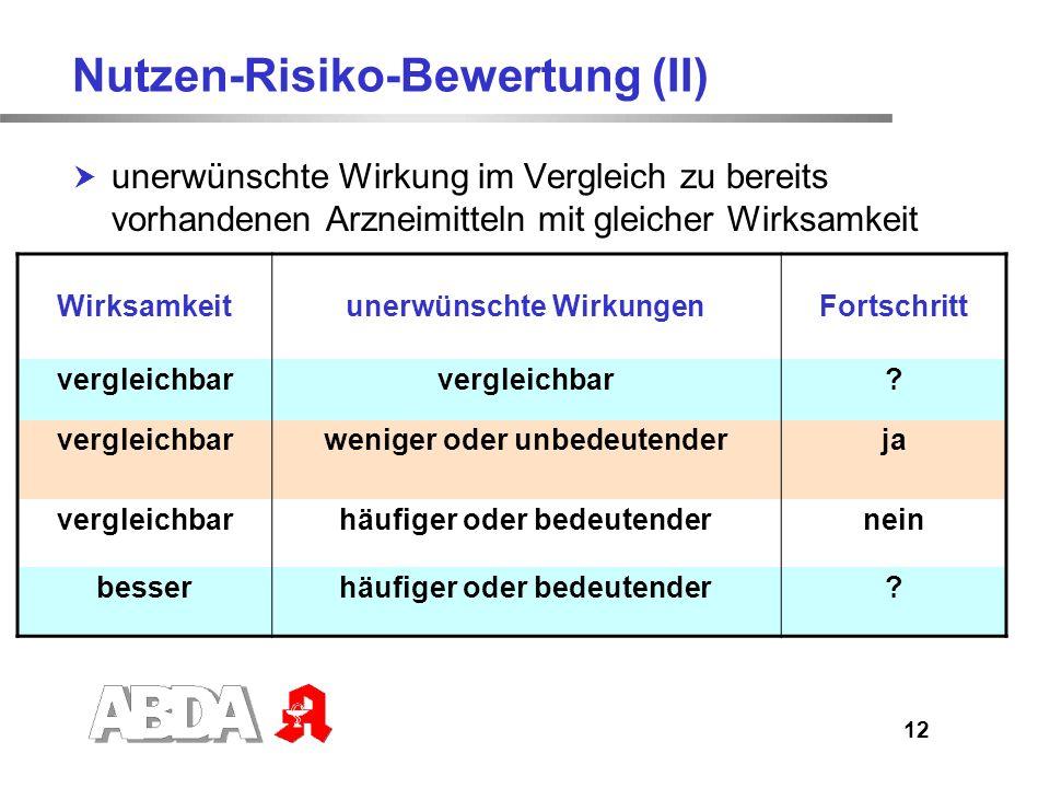 Nutzen-Risiko-Bewertung (II)