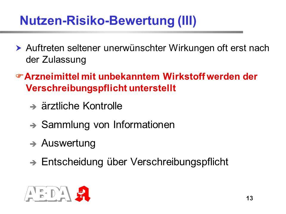 Nutzen-Risiko-Bewertung (III)