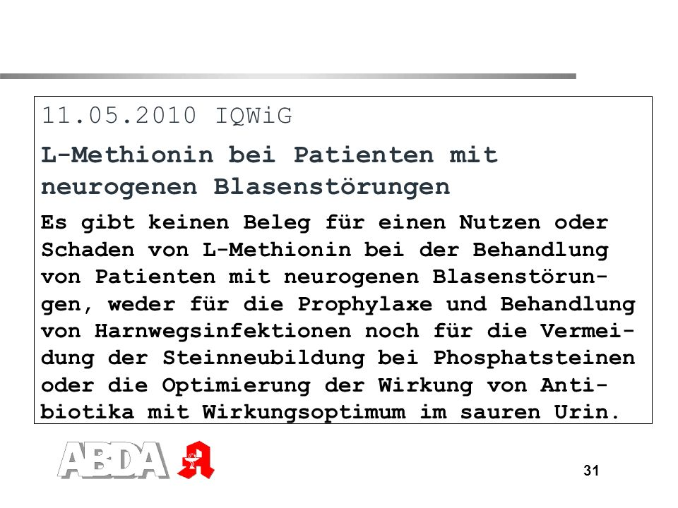 L-Methionin bei Patienten mit neurogenen Blasenstörungen