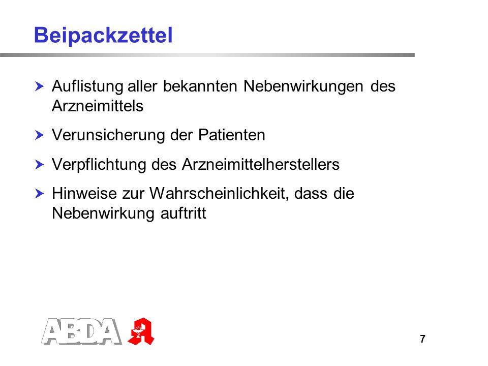 Beipackzettel Auflistung aller bekannten Nebenwirkungen des Arzneimittels. Verunsicherung der Patienten.
