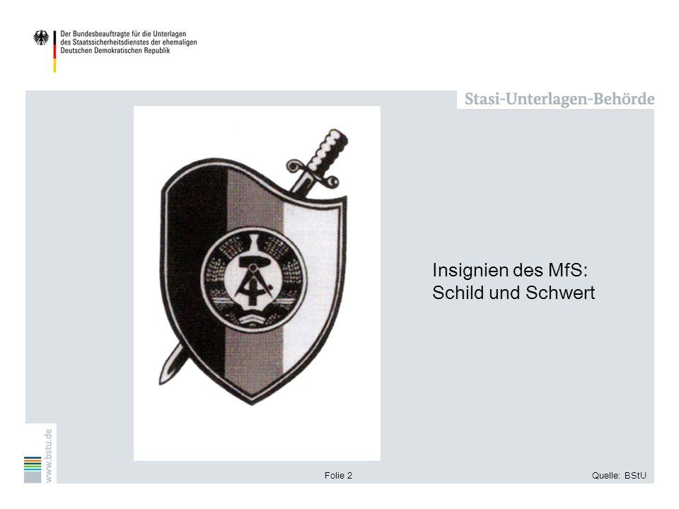Insignien des MfS: Schild und Schwert Folie 2 Quelle: BStU