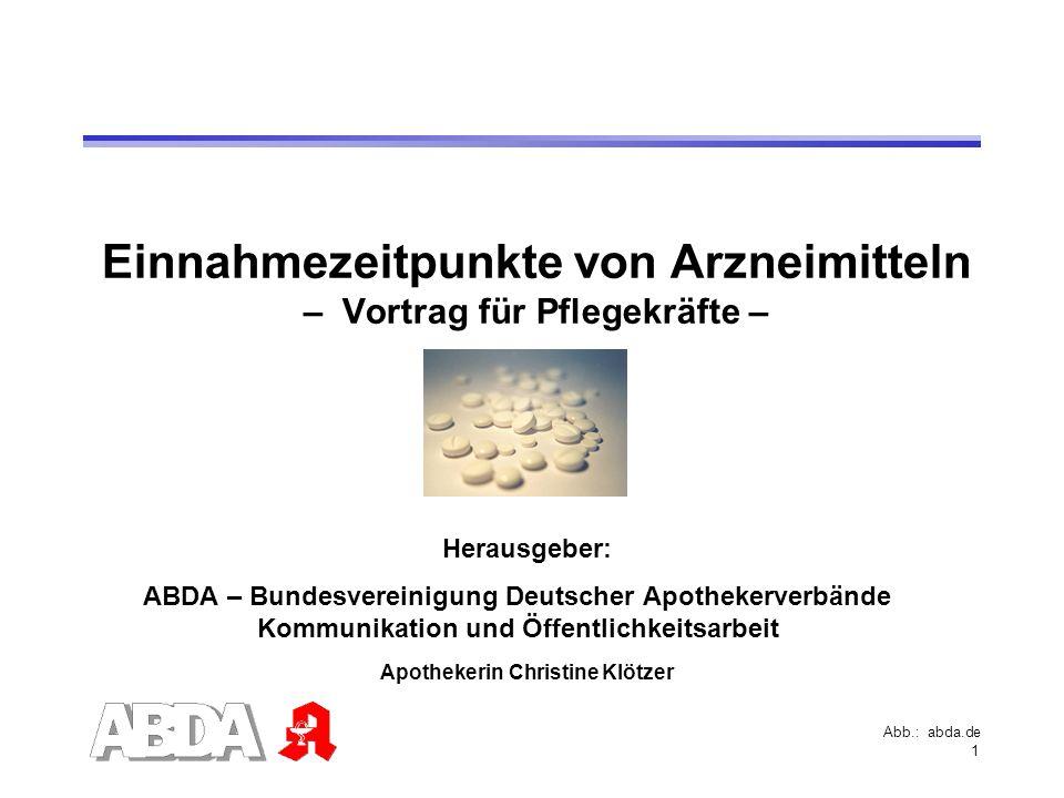 Einnahmezeitpunkte von Arzneimitteln – Vortrag für Pflegekräfte –
