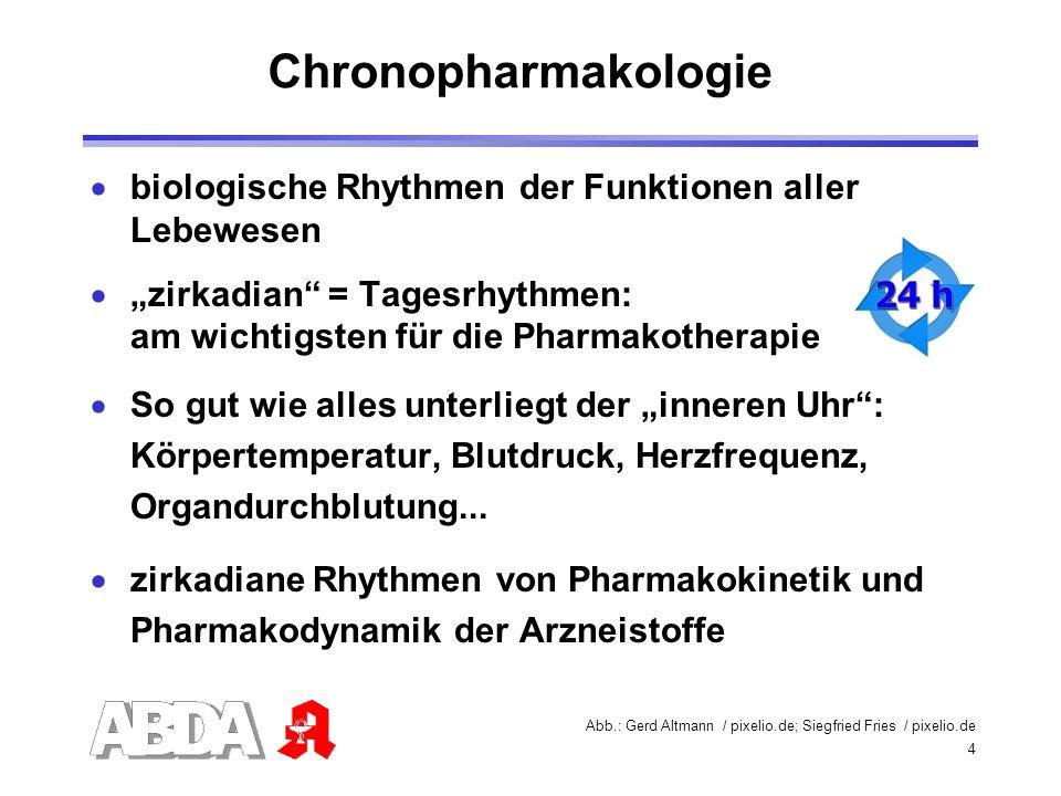 """Chronopharmakologie biologische Rhythmen der Funktionen aller Lebewesen. """"zirkadian = Tagesrhythmen: am wichtigsten für die Pharmakotherapie."""