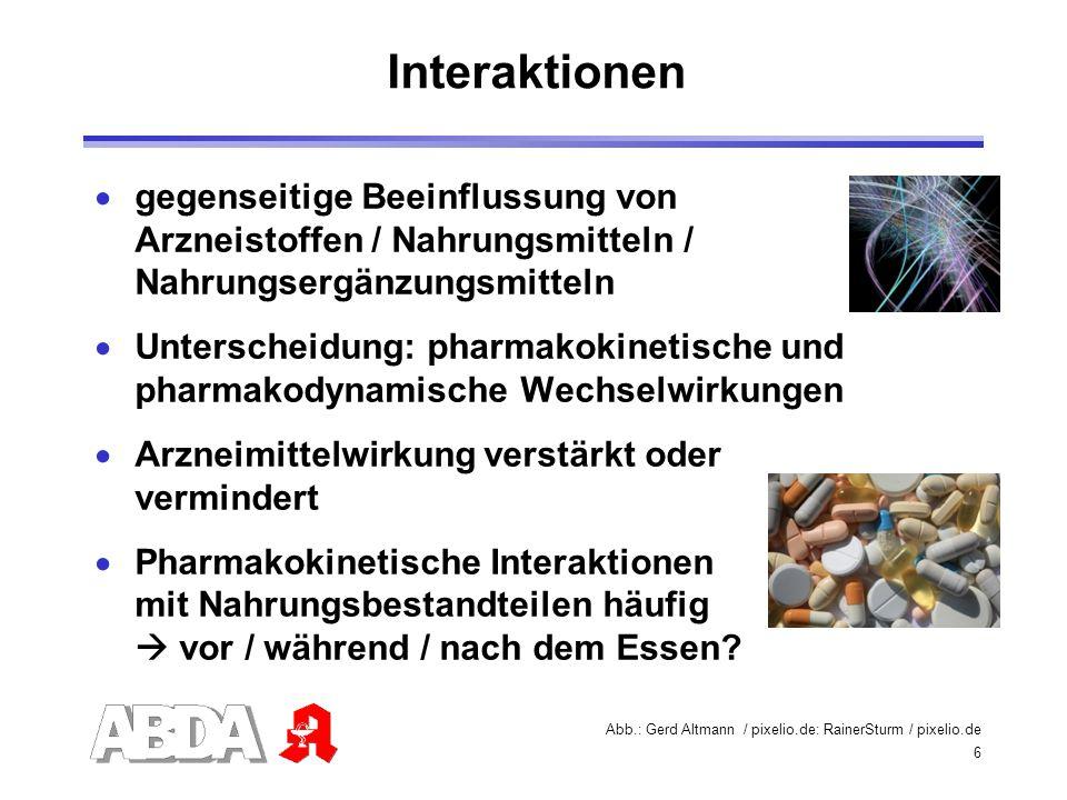 Interaktionen gegenseitige Beeinflussung von Arzneistoffen / Nahrungsmitteln / Nahrungsergänzungsmitteln.