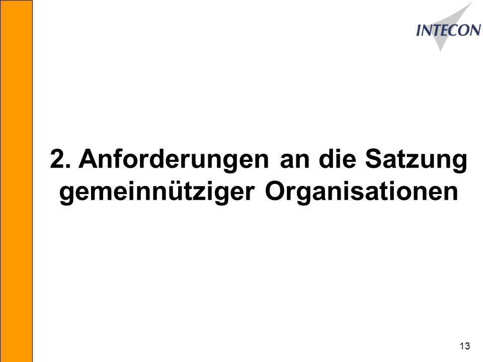 2. Anforderungen an die Satzung gemeinnütziger Organisationen