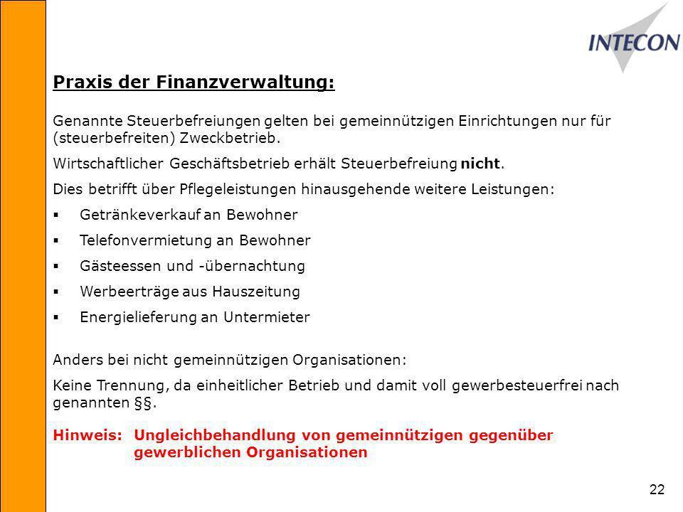 Praxis der Finanzverwaltung: Genannte Steuerbefreiungen gelten bei gemeinnützigen Einrichtungen nur für (steuerbefreiten) Zweckbetrieb.