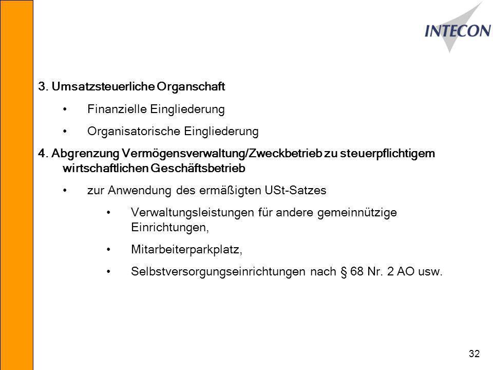 3. Umsatzsteuerliche Organschaft