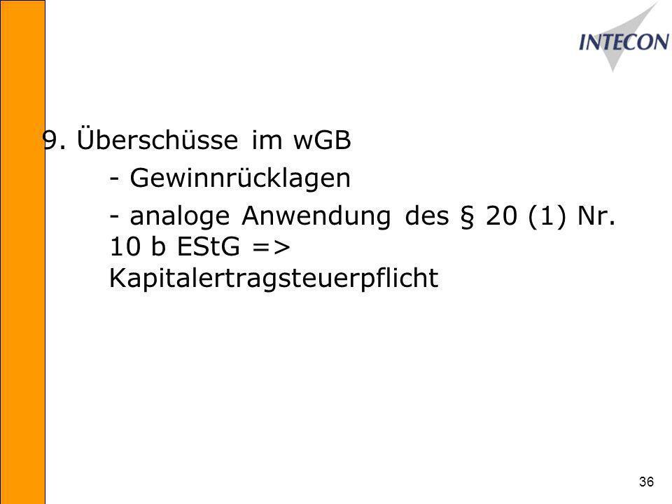 9. Überschüsse im wGB - Gewinnrücklagen. - analoge Anwendung des § 20 (1) Nr.