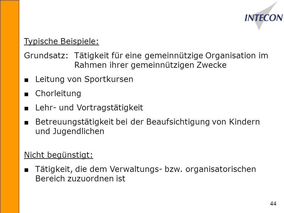 Typische Beispiele: Grundsatz: Tätigkeit für eine gemeinnützige Organisation im Rahmen ihrer gemeinnützigen Zwecke.