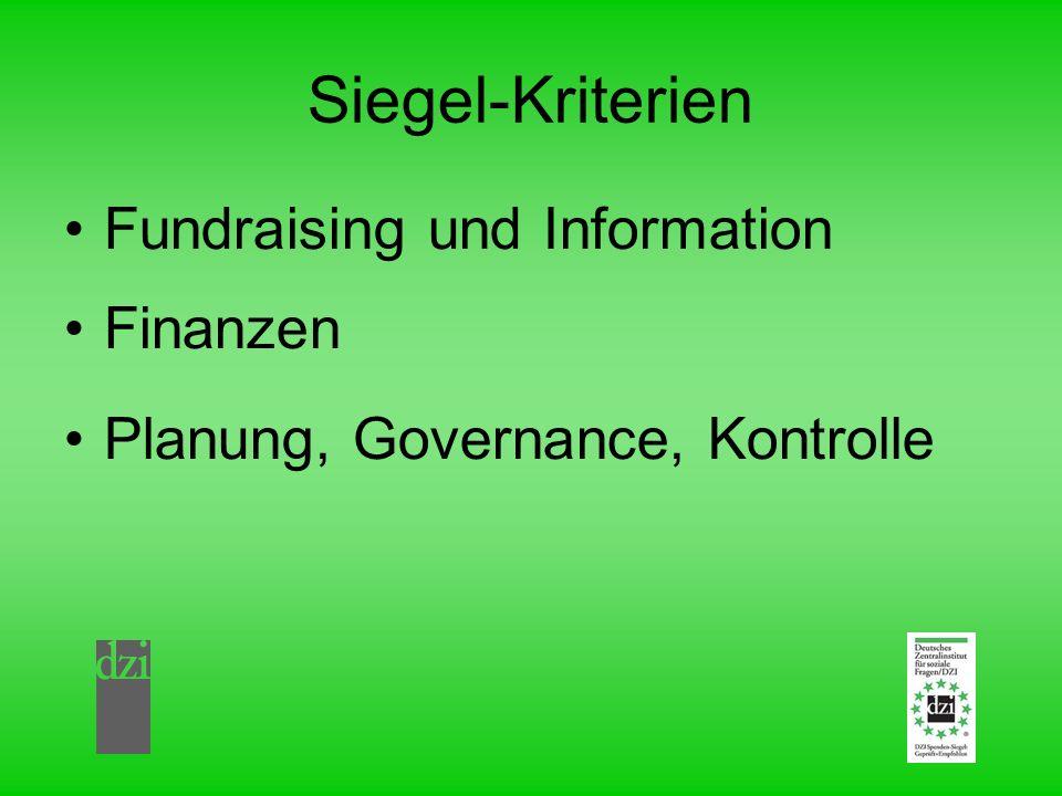 Siegel-Kriterien Fundraising und Information Finanzen