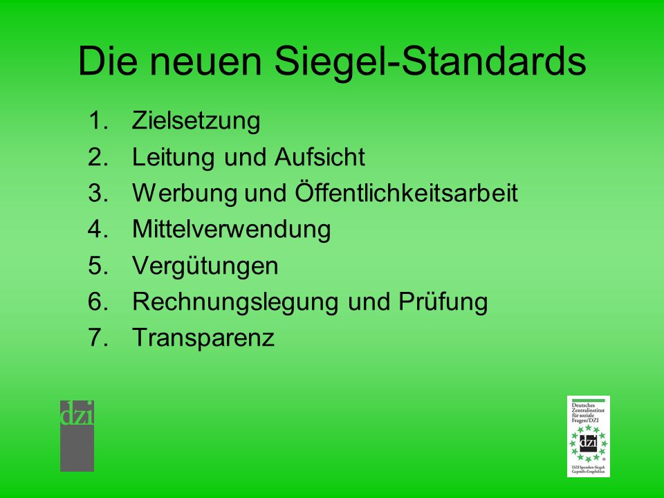 Die neuen Siegel-Standards