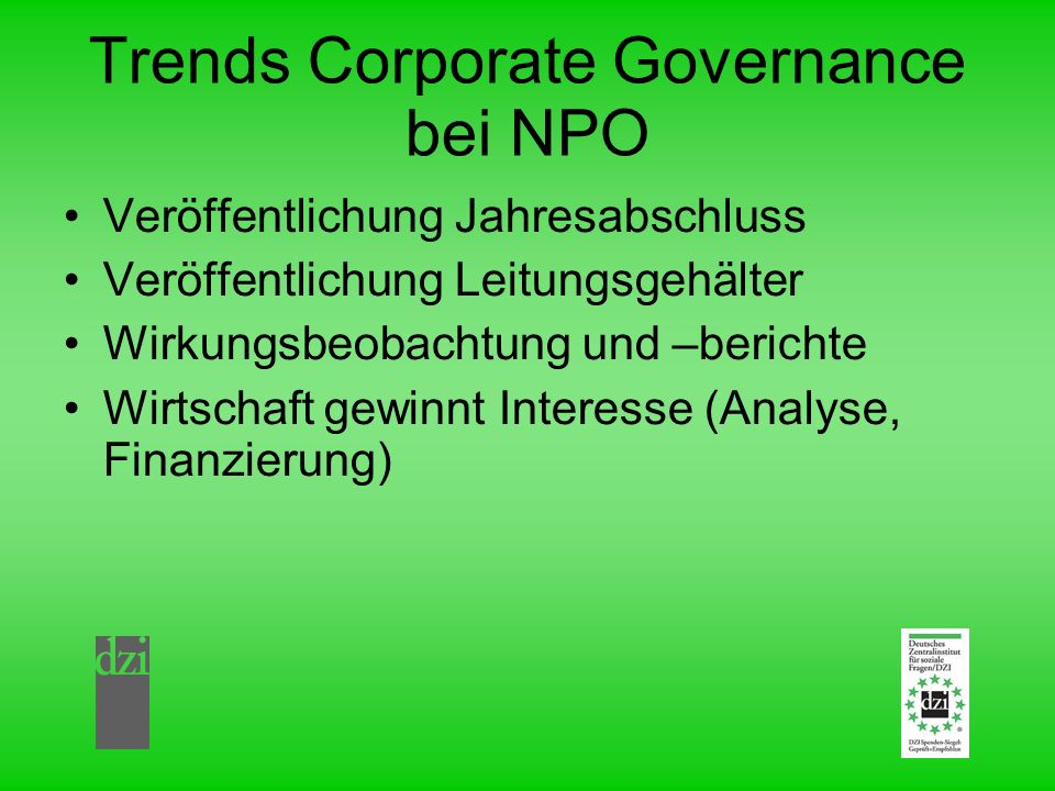 Trends Corporate Governance bei NPO