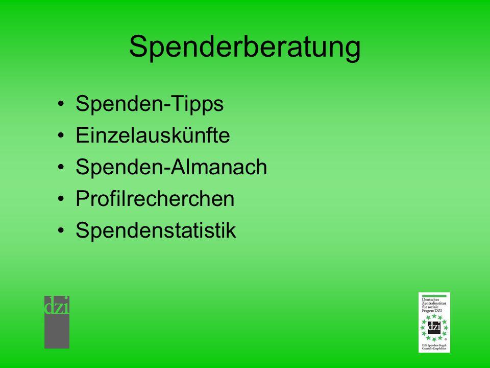 Spenderberatung Spenden-Tipps Einzelauskünfte Spenden-Almanach