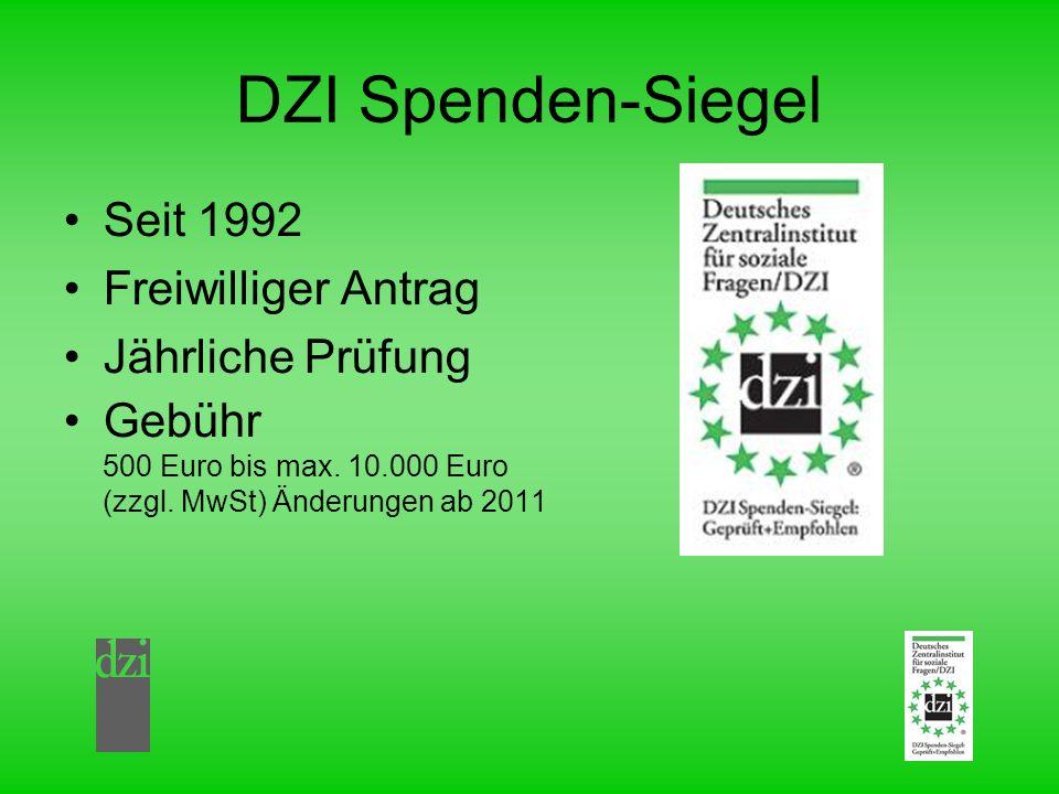 DZI Spenden-Siegel Seit 1992 Freiwilliger Antrag Jährliche Prüfung