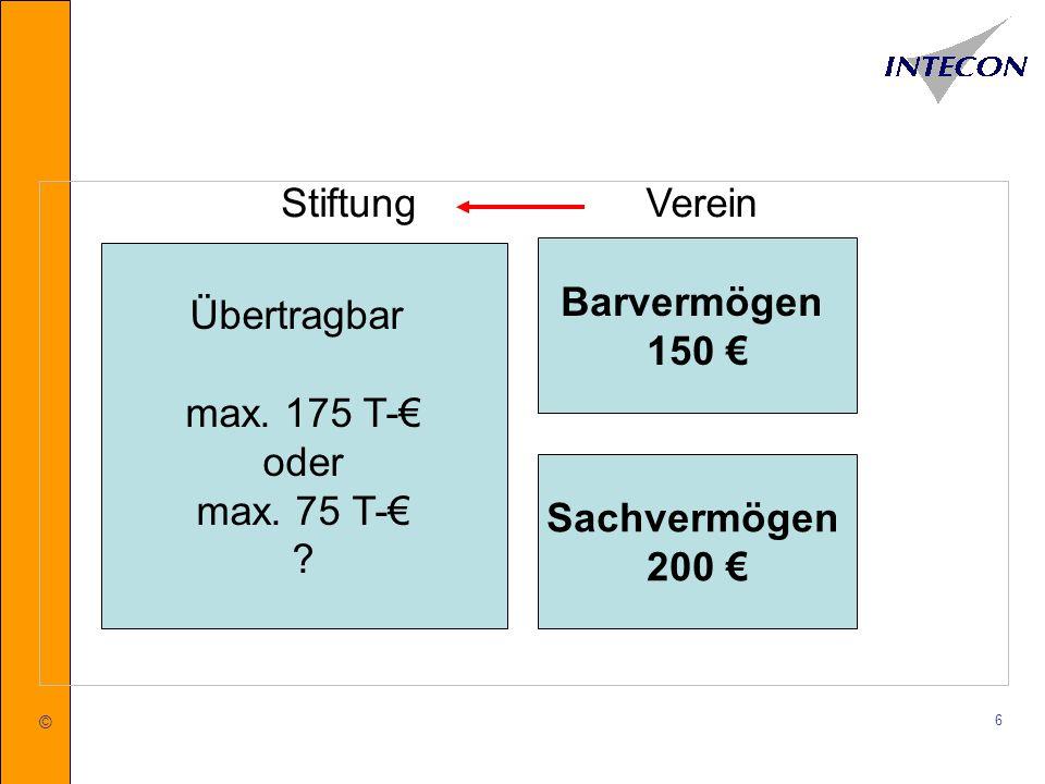 Stiftung Verein Übertragbar max. 175 T-€ oder max. 75 T-€
