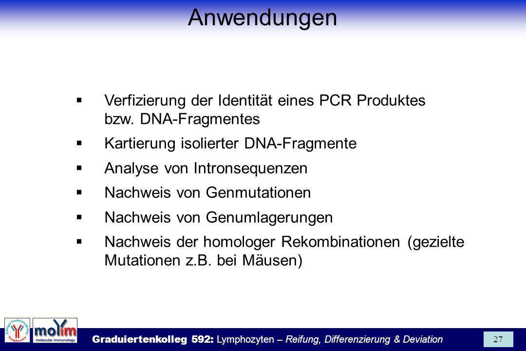 Anwendungen Verfizierung der Identität eines PCR Produktes bzw. DNA-Fragmentes. Kartierung isolierter DNA-Fragmente.