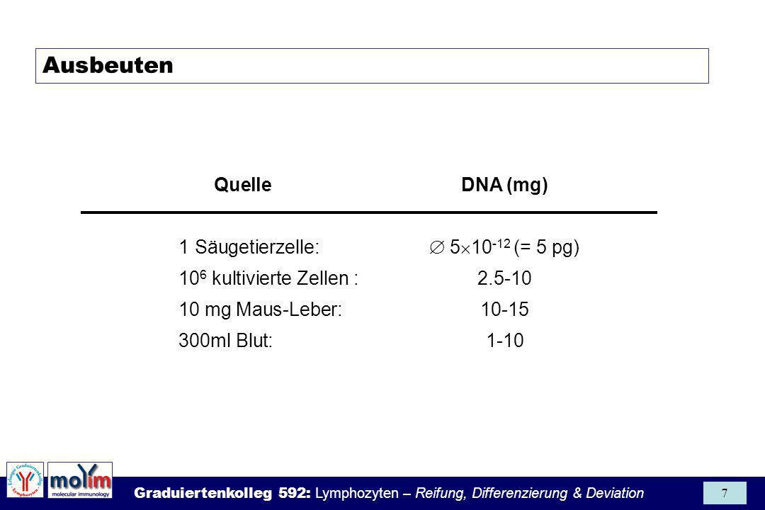 Ausbeuten Quelle DNA (mg) 1 Säugetierzelle:  510-12 (= 5 pg)