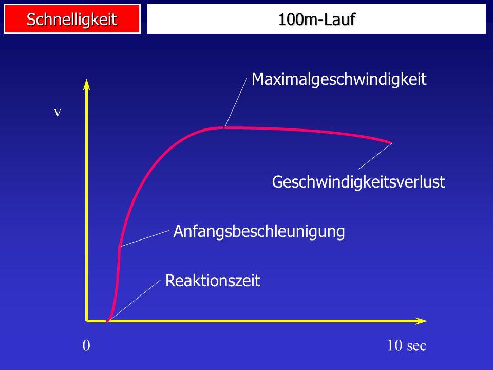100m-Lauf Maximalgeschwindigkeit. v. Geschwindigkeitsverlust. Anfangsbeschleunigung. Reaktionszeit.