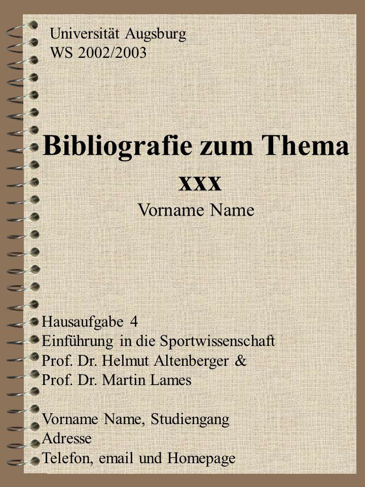 Bibliografie zum Thema xxx Vorname Name