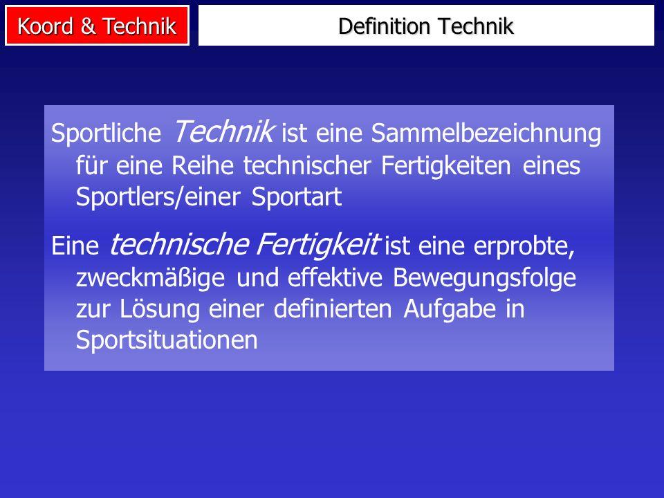 Definition Technik Sportliche Technik ist eine Sammelbezeichnung für eine Reihe technischer Fertigkeiten eines Sportlers/einer Sportart.
