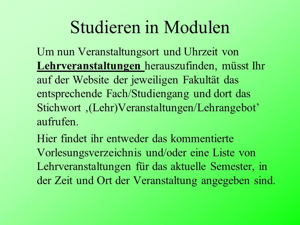 Studieren in Modulen