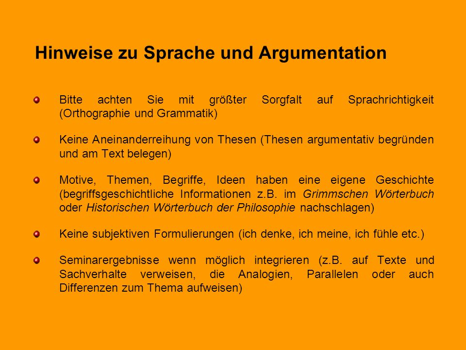 Hinweise zu Sprache und Argumentation