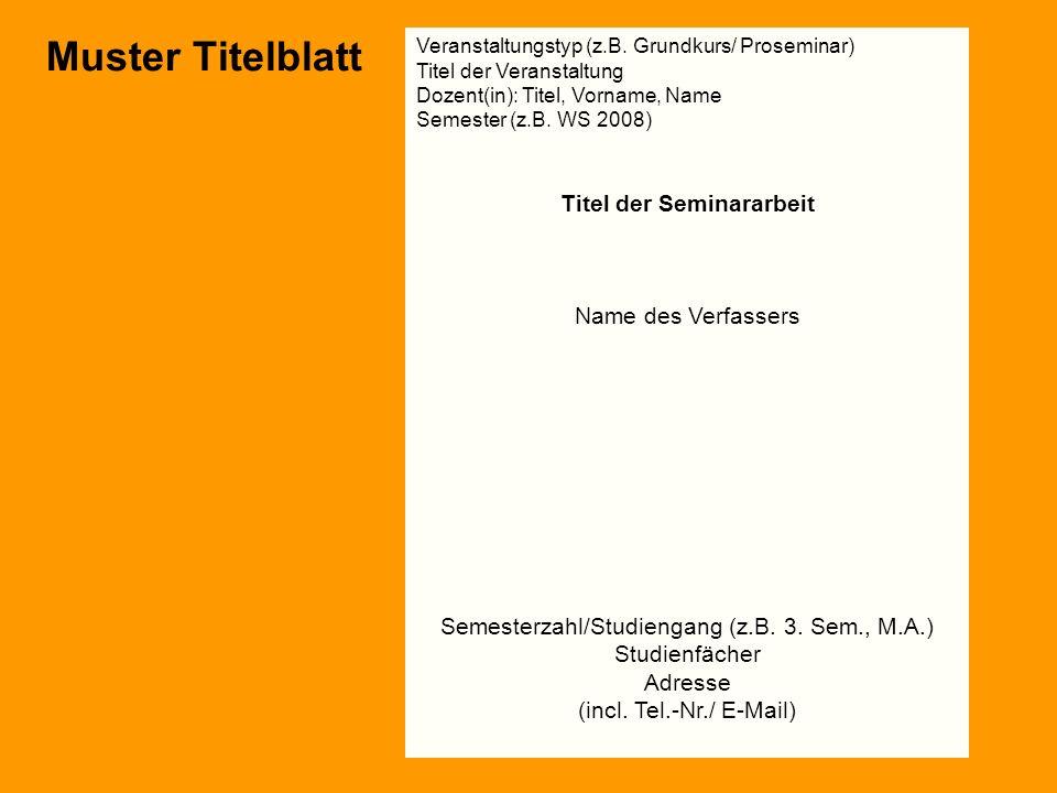 Muster Titelblatt Titel der Seminararbeit Name des Verfassers