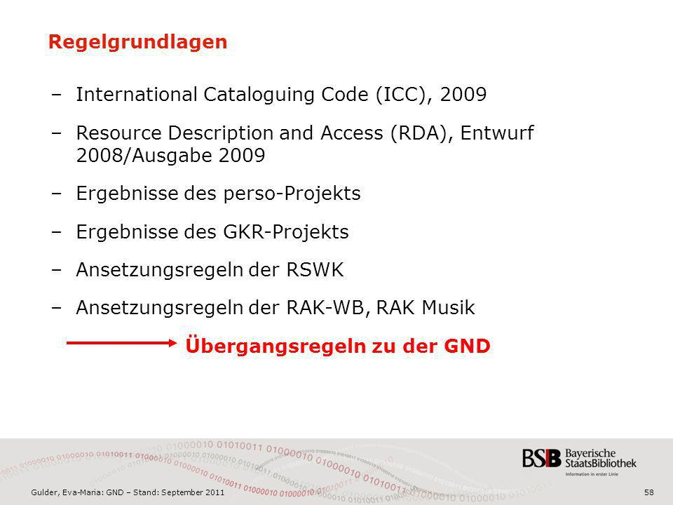 Regelgrundlagen International Cataloguing Code (ICC), Resource Description and Access (RDA), Entwurf 2008/Ausgabe