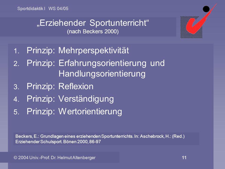 """""""Erziehender Sportunterricht (nach Beckers 2000)"""