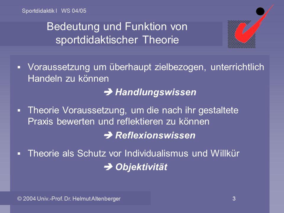 Bedeutung und Funktion von sportdidaktischer Theorie