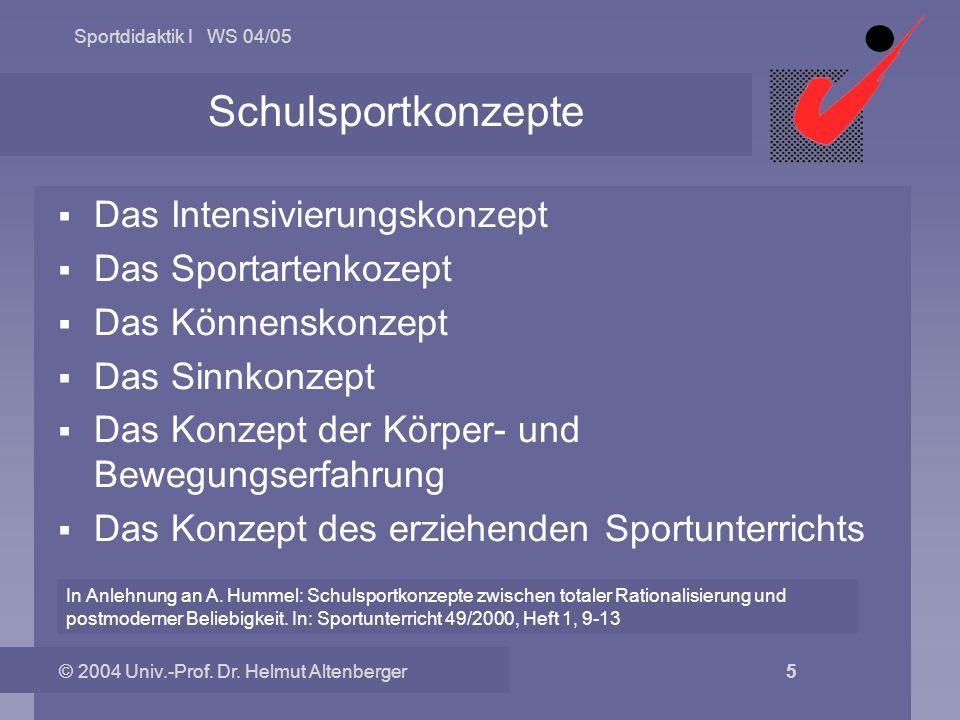 Schulsportkonzepte Das Intensivierungskonzept Das Sportartenkozept