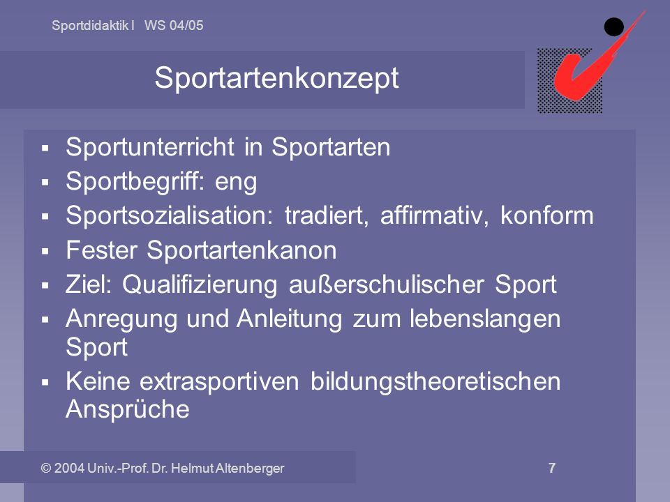 Sportartenkonzept Sportunterricht in Sportarten Sportbegriff: eng