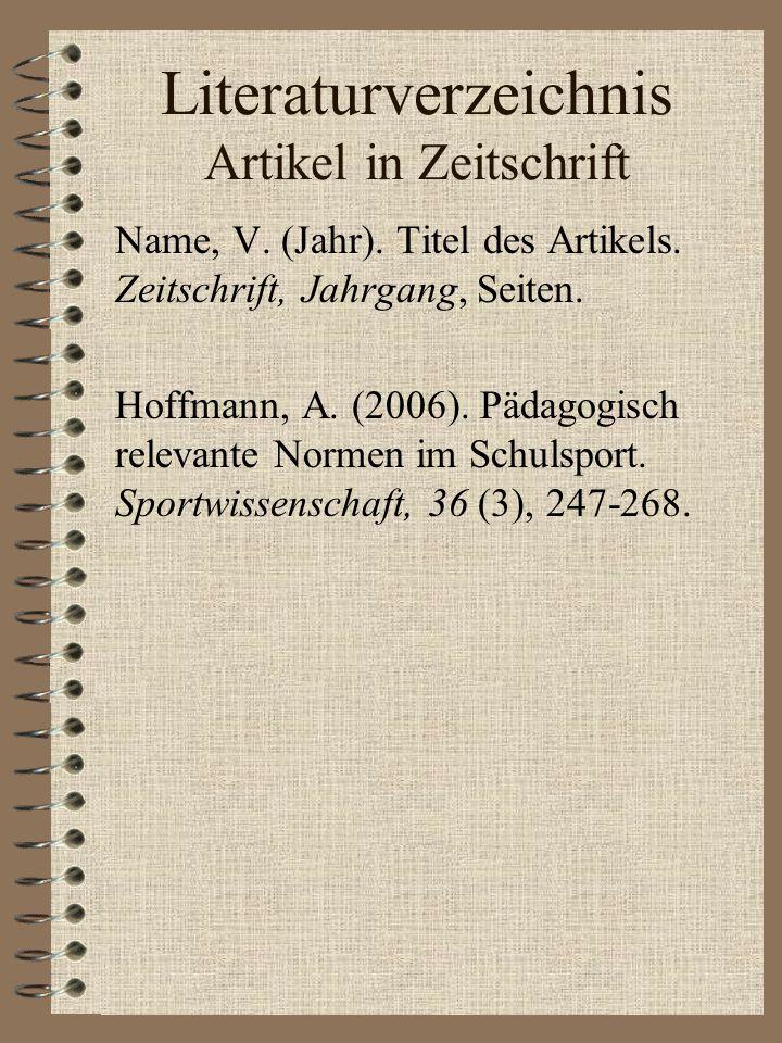Literaturverzeichnis Artikel in Zeitschrift