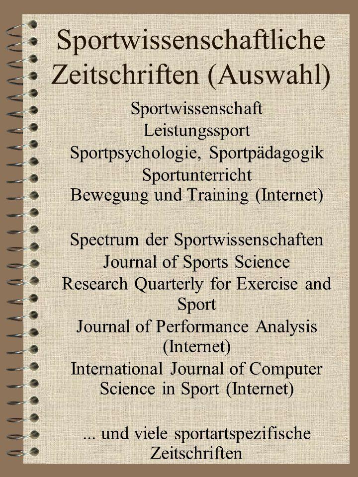 Sportwissenschaftliche Zeitschriften (Auswahl)