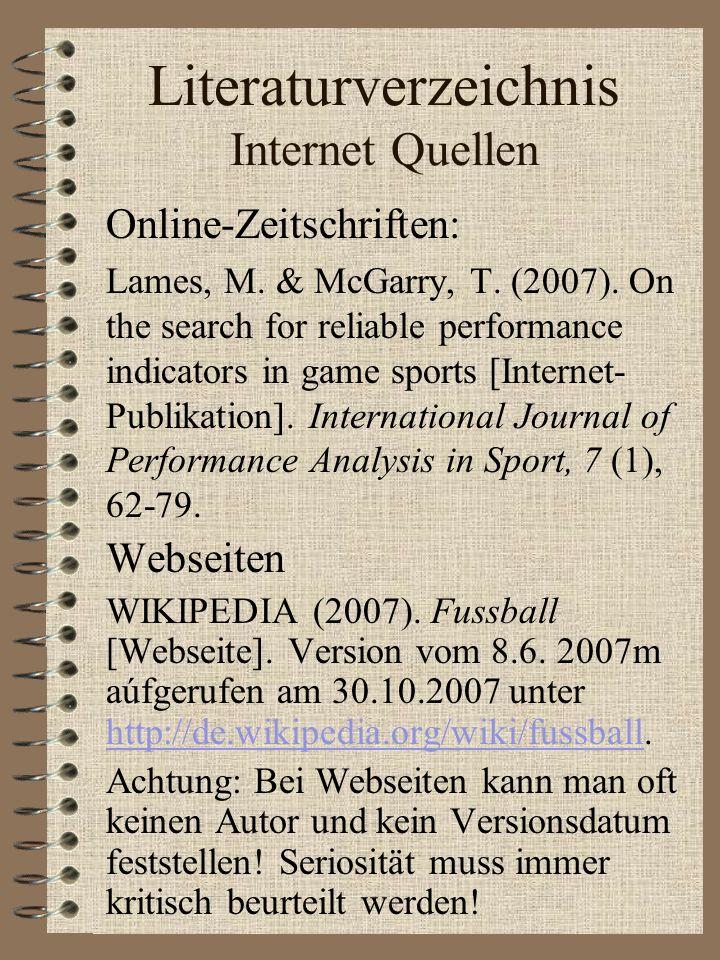 Literaturverzeichnis Internet Quellen
