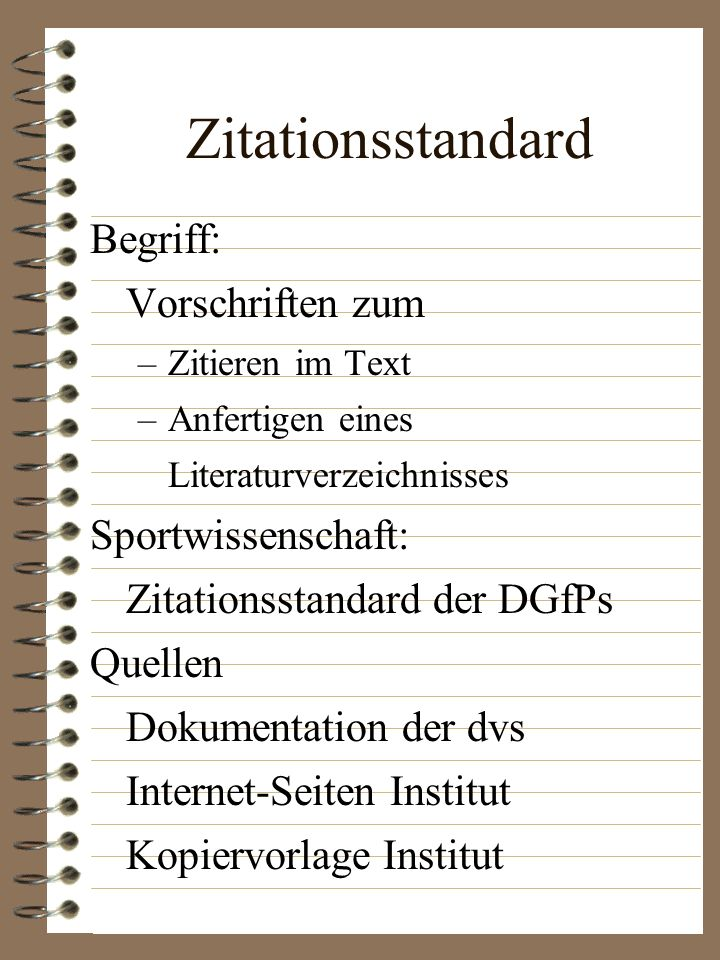 Zitationsstandard Begriff: Vorschriften zum
