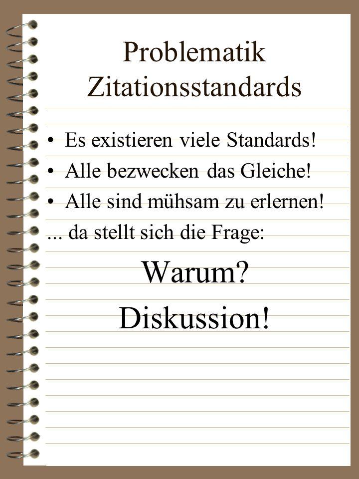 Problematik Zitationsstandards