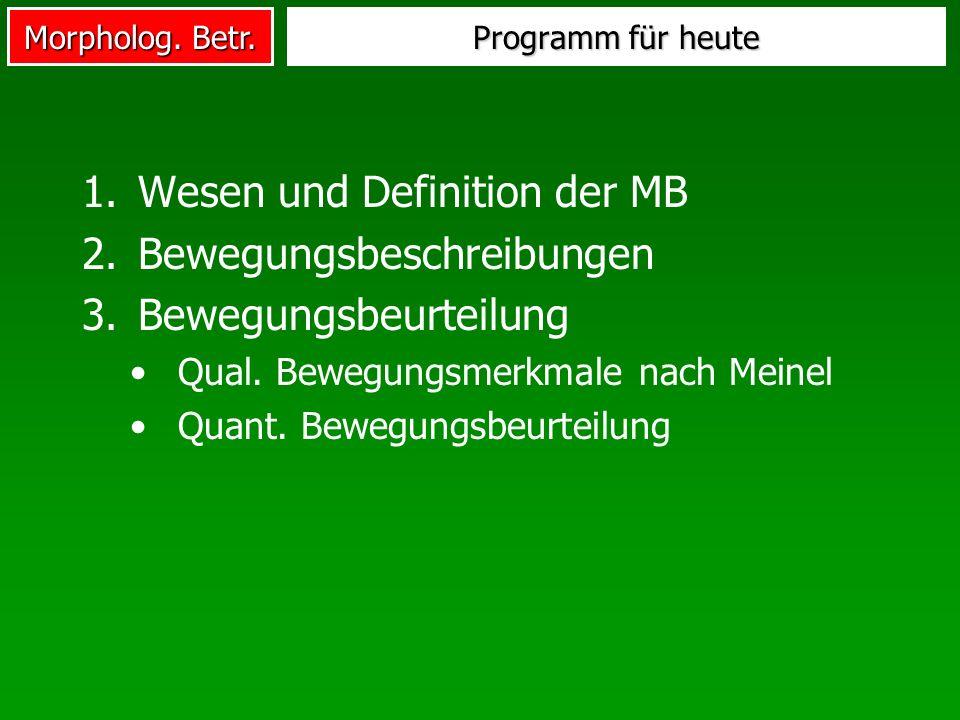 Wesen und Definition der MB Bewegungsbeschreibungen