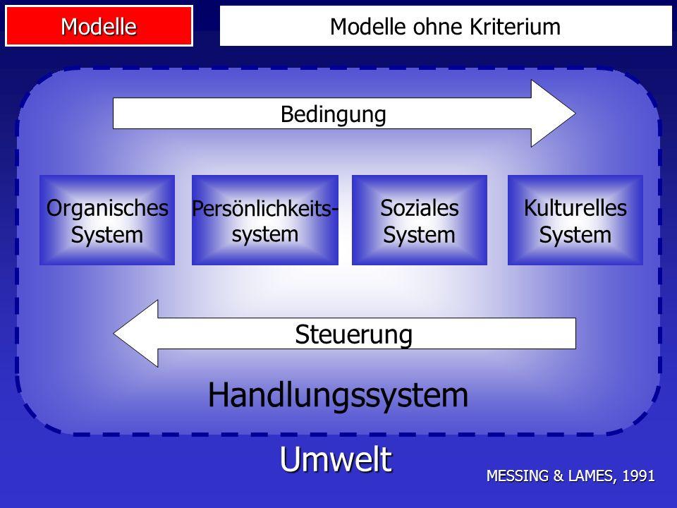 Handlungssystem Umwelt Steuerung Modelle ohne Kriterium Bedingung