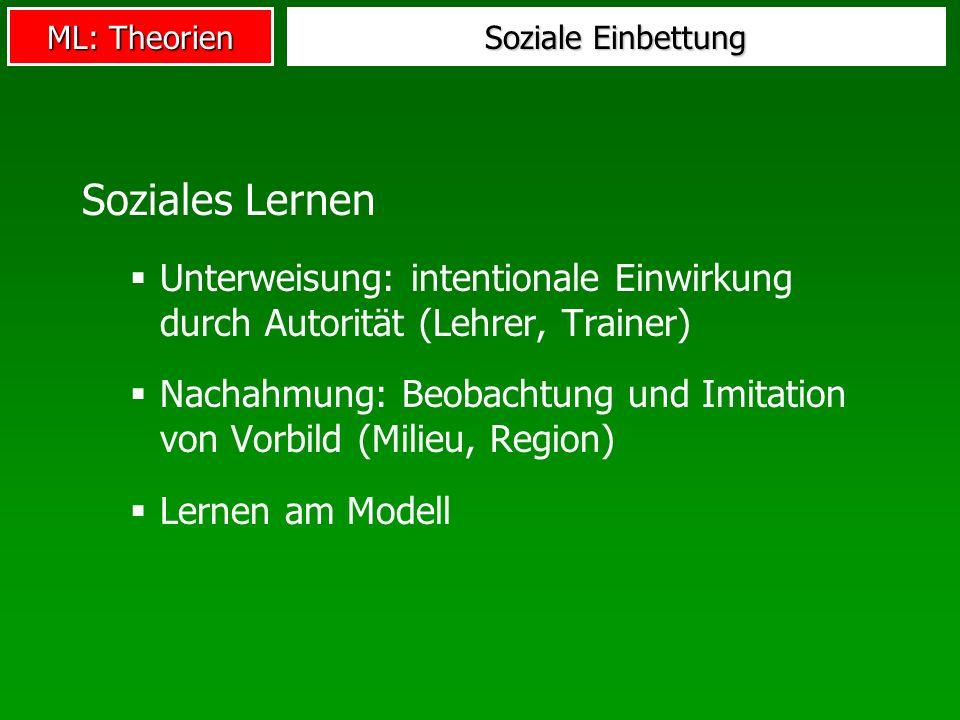 Soziale Einbettung Soziales Lernen. Unterweisung: intentionale Einwirkung durch Autorität (Lehrer, Trainer)