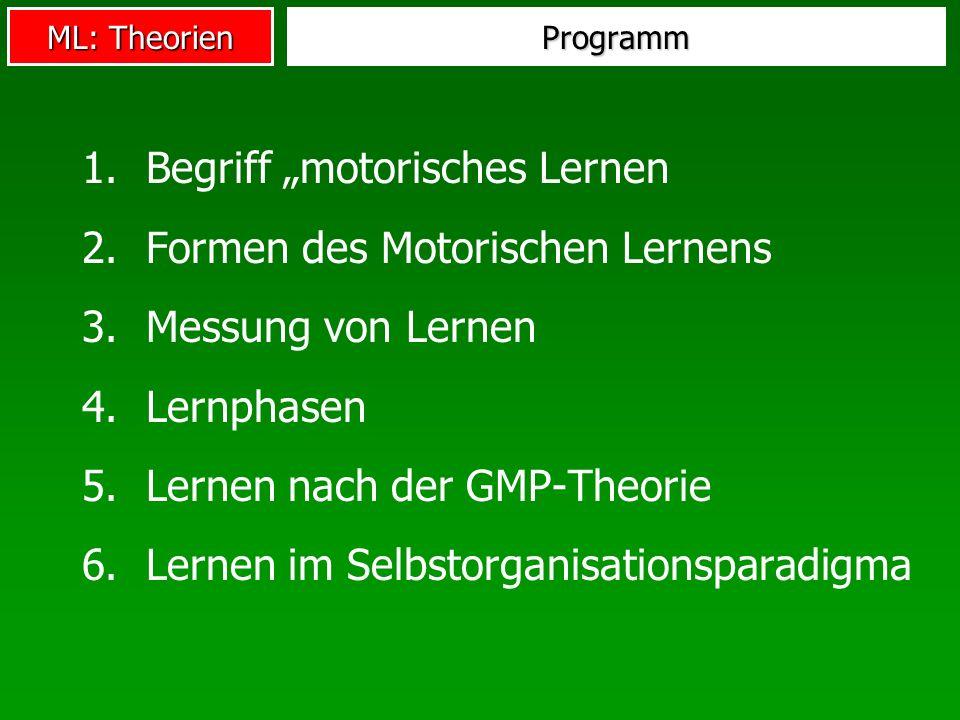 """Begriff """"motorisches Lernen Formen des Motorischen Lernens"""
