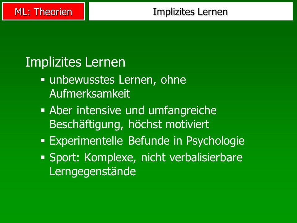 Implizites Lernen unbewusstes Lernen, ohne Aufmerksamkeit