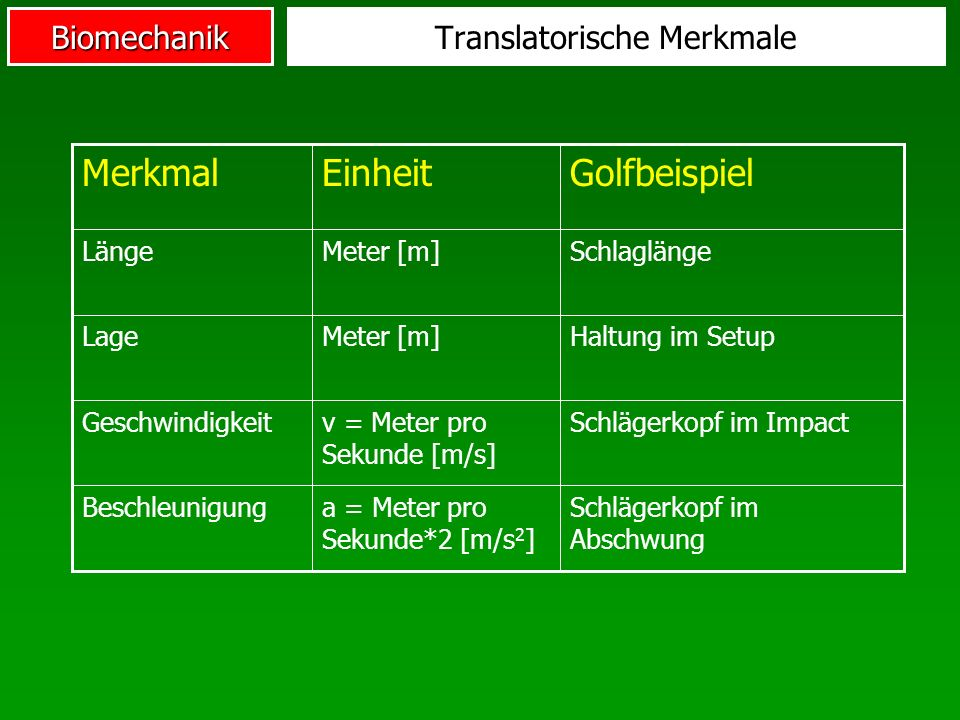 Translatorische Merkmale